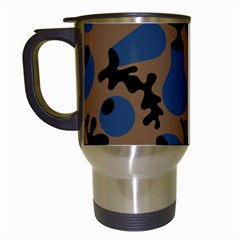Superfiction Object Blue Black Brown Pattern Travel Mugs (white) by Mariart