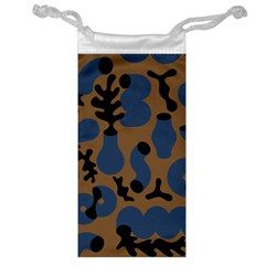 Superfiction Object Blue Black Brown Pattern Jewelry Bag by Mariart