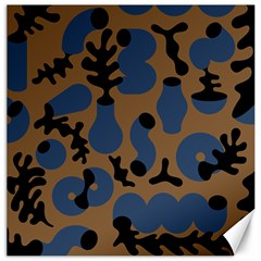 Superfiction Object Blue Black Brown Pattern Canvas 16  X 16   by Mariart