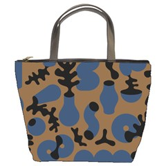 Superfiction Object Blue Black Brown Pattern Bucket Bags