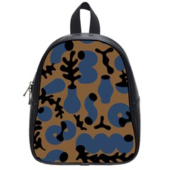 Superfiction Object Blue Black Brown Pattern School Bag (small) by Mariart