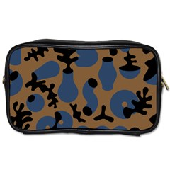 Superfiction Object Blue Black Brown Pattern Toiletries Bags 2 Side by Mariart