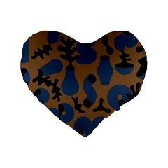 Superfiction Object Blue Black Brown Pattern Standard 16  Premium Heart Shape Cushions by Mariart