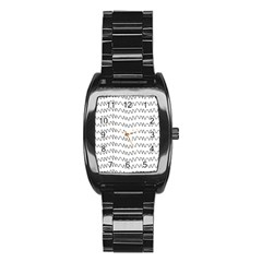 Tattoos Transparent Tumblr Overlays Wave Waves Black Chevron Stainless Steel Barrel Watch by Mariart