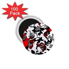 Vector Red Black White Camo Advance 1 75  Magnets (100 Pack)