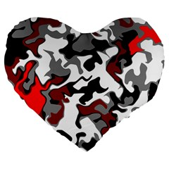 Vector Red Black White Camo Advance Large 19  Premium Heart Shape Cushions by Mariart
