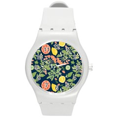 Summer Fruite Orange Lemmon Tomato Round Plastic Sport Watch (m) by Mariart