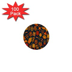 Tribal Ethnic Blue Gold Culture 1  Mini Buttons (100 Pack)