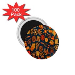 Tribal Ethnic Blue Gold Culture 1 75  Magnets (100 Pack)