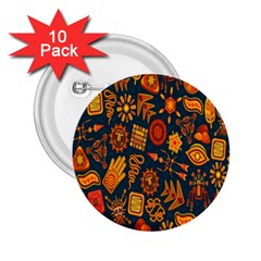 Tribal Ethnic Blue Gold Culture 2 25  Buttons (10 Pack)