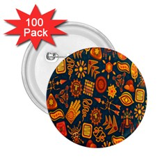 Tribal Ethnic Blue Gold Culture 2 25  Buttons (100 Pack)  by Mariart