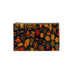 Tribal Ethnic Blue Gold Culture Cosmetic Bag (small)  by Mariart