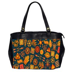 Tribal Ethnic Blue Gold Culture Office Handbags (2 Sides)  by Mariart
