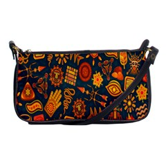 Tribal Ethnic Blue Gold Culture Shoulder Clutch Bags