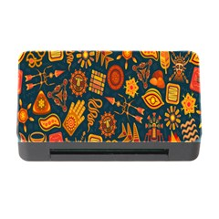 Tribal Ethnic Blue Gold Culture Memory Card Reader With Cf