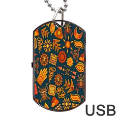 Tribal Ethnic Blue Gold Culture Dog Tag Usb Flash (two Sides) by Mariart