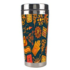 Tribal Ethnic Blue Gold Culture Stainless Steel Travel Tumblers