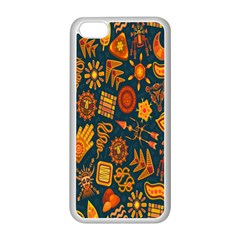 Tribal Ethnic Blue Gold Culture Apple Iphone 5c Seamless Case (white) by Mariart