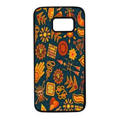 Tribal Ethnic Blue Gold Culture Samsung Galaxy S7 Black Seamless Case by Mariart