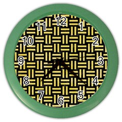 Woven1 Black Marble & Yellow Watercolor (r) Color Wall Clocks by trendistuff