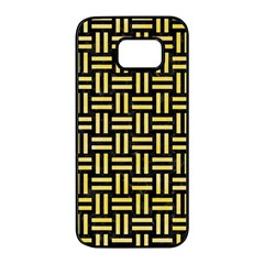 Woven1 Black Marble & Yellow Watercolor (r) Samsung Galaxy S7 Edge Black Seamless Case by trendistuff