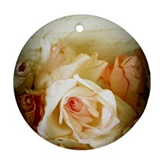 Roses Vintage Playful Romantic Round Ornament (two Sides) by Celenk