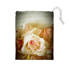 Roses Vintage Playful Romantic Drawstring Pouches (large)  by Celenk