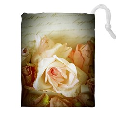 Roses Vintage Playful Romantic Drawstring Pouches (xxl) by Celenk