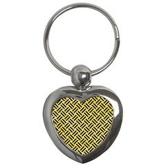 Woven2 Black Marble & Yellow Watercolor Key Chains (heart)