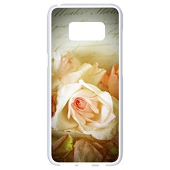 Roses Vintage Playful Romantic Samsung Galaxy S8 White Seamless Case by Celenk