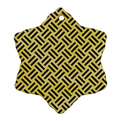 Woven2 Black Marble & Yellow Watercolor Snowflake Ornament (two Sides) by trendistuff