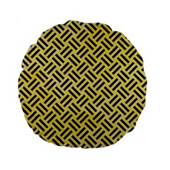 Woven2 Black Marble & Yellow Watercolor Standard 15  Premium Flano Round Cushions by trendistuff
