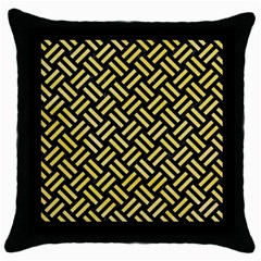 Woven2 Black Marble & Yellow Watercolor (r) Throw Pillow Case (black) by trendistuff