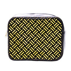 Woven2 Black Marble & Yellow Watercolor (r) Mini Toiletries Bags by trendistuff