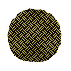 Woven2 Black Marble & Yellow Watercolor (r) Standard 15  Premium Flano Round Cushions by trendistuff