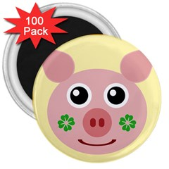 Luck Lucky Pig Pig Lucky Charm 3  Magnets (100 Pack) by Celenk