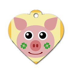 Luck Lucky Pig Pig Lucky Charm Dog Tag Heart (two Sides) by Celenk