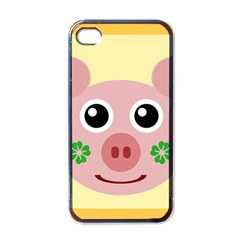 Luck Lucky Pig Pig Lucky Charm Apple Iphone 4 Case (black) by Celenk