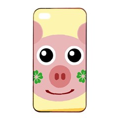 Luck Lucky Pig Pig Lucky Charm Apple Iphone 4/4s Seamless Case (black) by Celenk