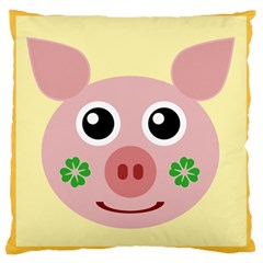 Luck Lucky Pig Pig Lucky Charm Large Cushion Case (two Sides) by Celenk