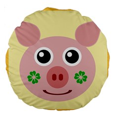 Luck Lucky Pig Pig Lucky Charm Large 18  Premium Round Cushions by Celenk
