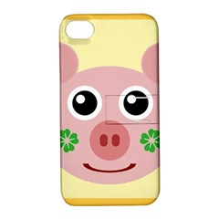 Luck Lucky Pig Pig Lucky Charm Apple Iphone 4/4s Hardshell Case With Stand by Celenk
