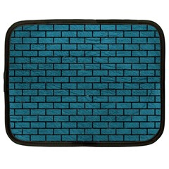 Brick1 Black Marble & Teal Leather Netbook Case (large) by trendistuff