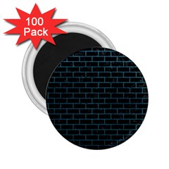 Brick1 Black Marble & Teal Leather (r) 2 25  Magnets (100 Pack)  by trendistuff