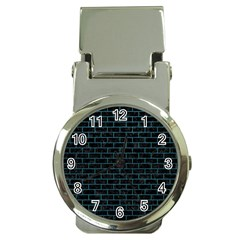 Brick1 Black Marble & Teal Leather (r) Money Clip Watches by trendistuff