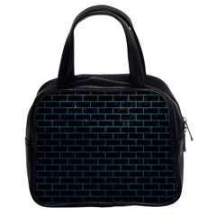 Brick1 Black Marble & Teal Leather (r) Classic Handbags (2 Sides) by trendistuff