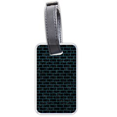 Brick1 Black Marble & Teal Leather (r) Luggage Tags (two Sides) by trendistuff