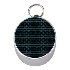 Brick1 Black Marble & Teal Leather (r) Mini Silver Compasses by trendistuff