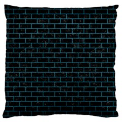 Brick1 Black Marble & Teal Leather (r) Large Flano Cushion Case (two Sides) by trendistuff