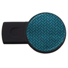 Brick2 Black Marble & Teal Leather Usb Flash Drive Round (4 Gb) by trendistuff